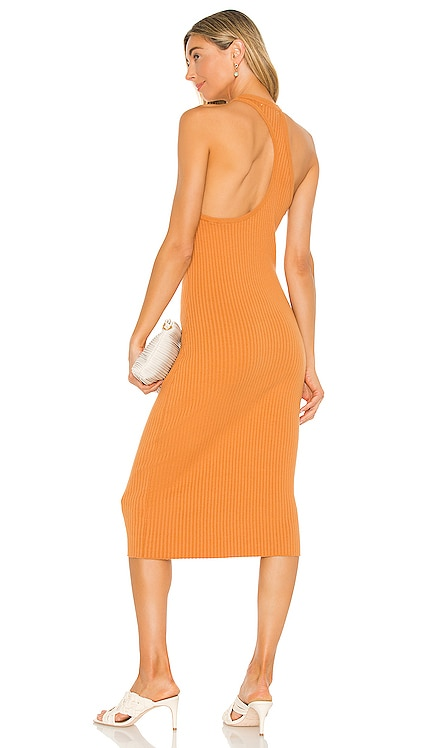 Lori Asymmetrical Ribbed Midi Dress Line & Dot $83 NEW