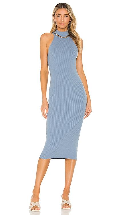 X REVOLVE Danielle Midi Dress Line & Dot $95 NEW