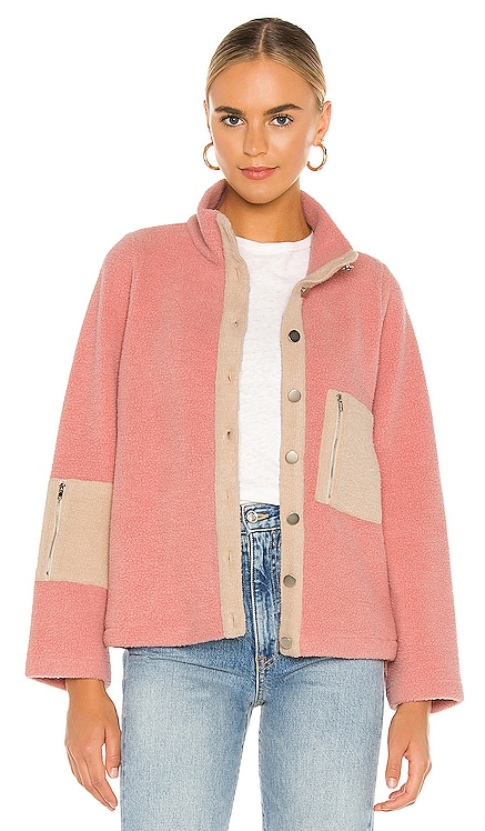 Callie Contrast Fleece Jacket Line & Dot $120 NEW