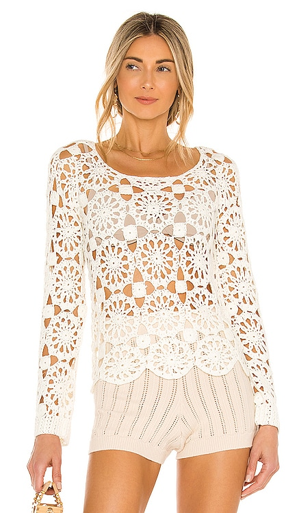 Mika Floral Crochet Top Line & Dot $99 NEW