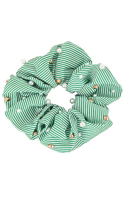 Seersucker Embellished Oversized Scrunchie Lele Sadoughi $38