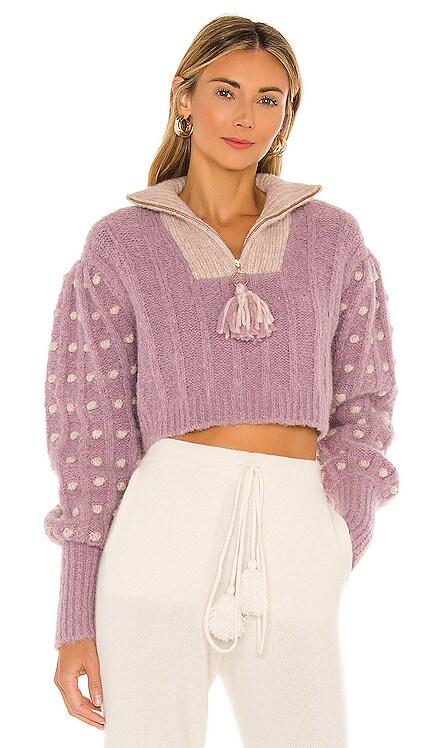 Jonae Cropped Mock Zip-Up Sweater LoveShackFancy $425 NEW