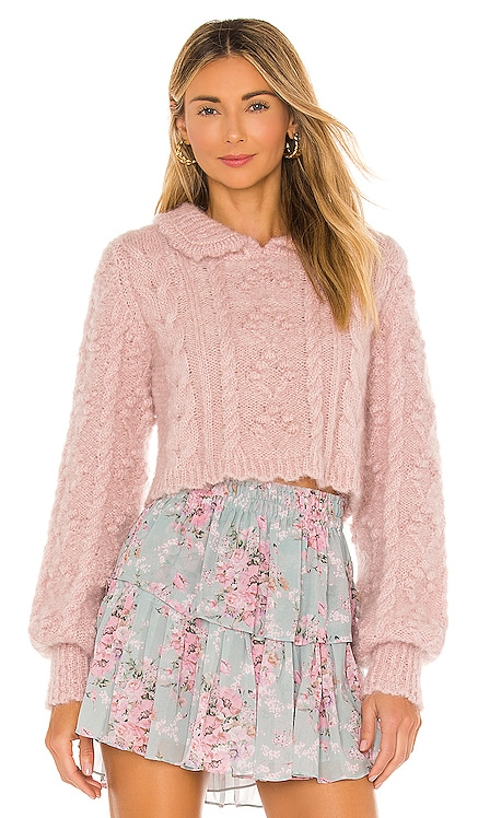 Berget Cropped Collared Sweater LoveShackFancy $395 NEW