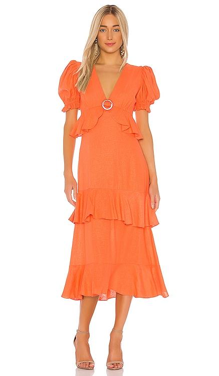 Linen Ruffle Midi Dress IORANE $550 NEW ARRIVAL
