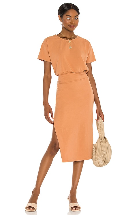 Easy Ruched Midi Dress Lovers + Friends $178 NEW