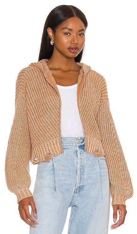 Blaire Distressed Knit Hoodie Lovers and Friends $218 NEW
