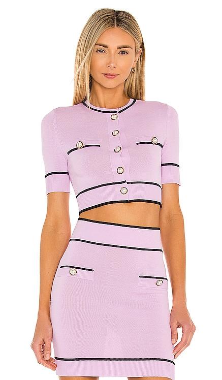 Pearl Short Sleeve Cardigan in Lilac & Purple Lovers + Friends $170 BEST SELLER