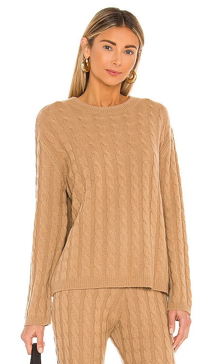 Cashmere Cable Knit Crew Sweater LPA $328 NEW
