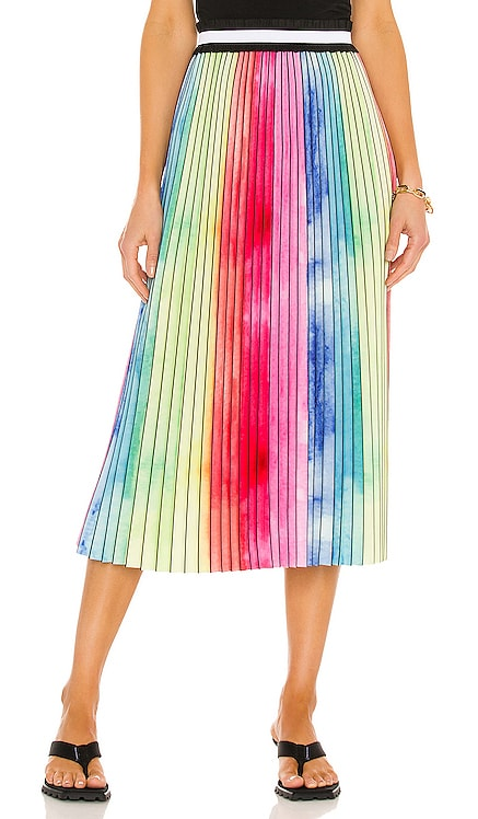 Watercolor Rainbow Pleated Skirt Le Superbe $445 NEW