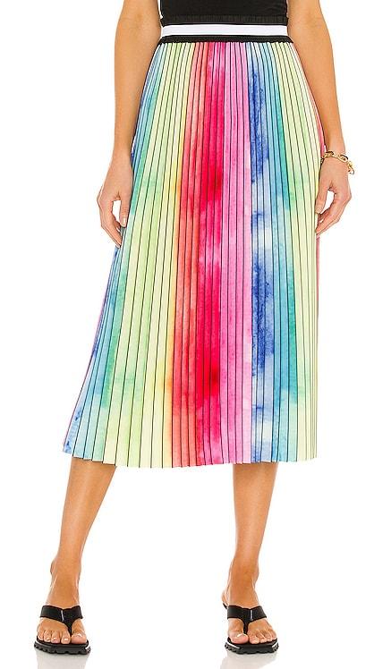 Watercolor Rainbow Pleated Skirt Le Superbe $290
