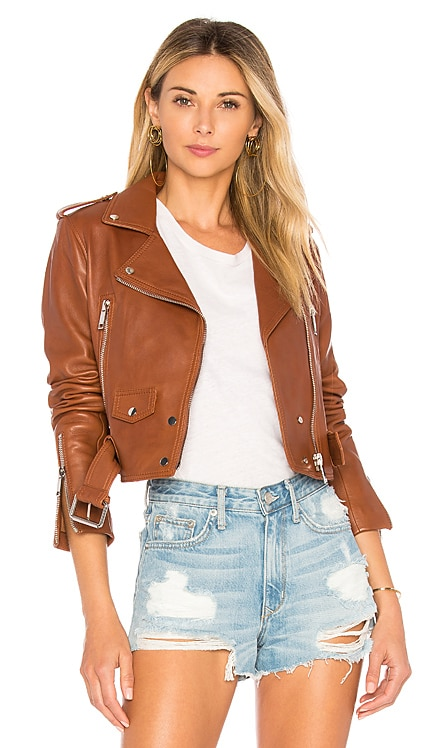 Mya Cropped Biker Jacket LTH JKT $595 BEST SELLER