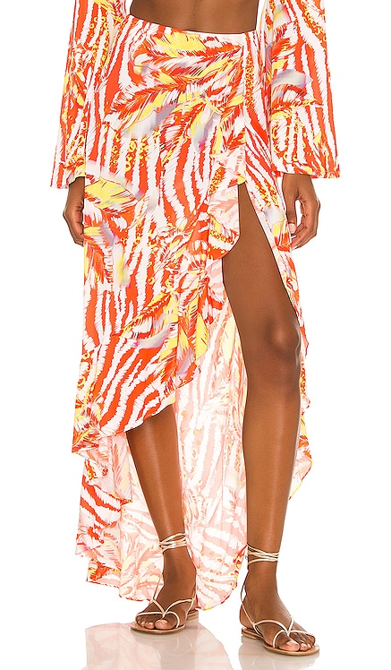Ruffle High Low Slit Skirt Luli Fama $128 NEW
