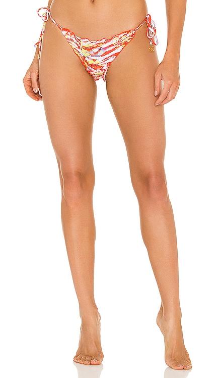 Wavy Ruched Back Tie Side Bikini Bottom Luli Fama $92 NEW