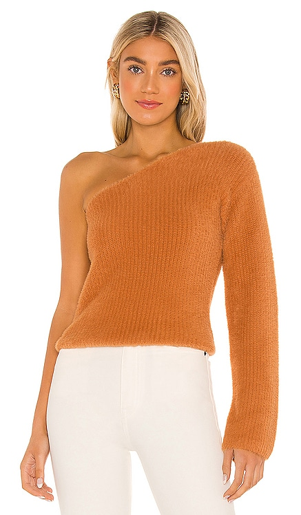 Fuzzy One Shoulder Sweater MAJORELLE $148 NEW