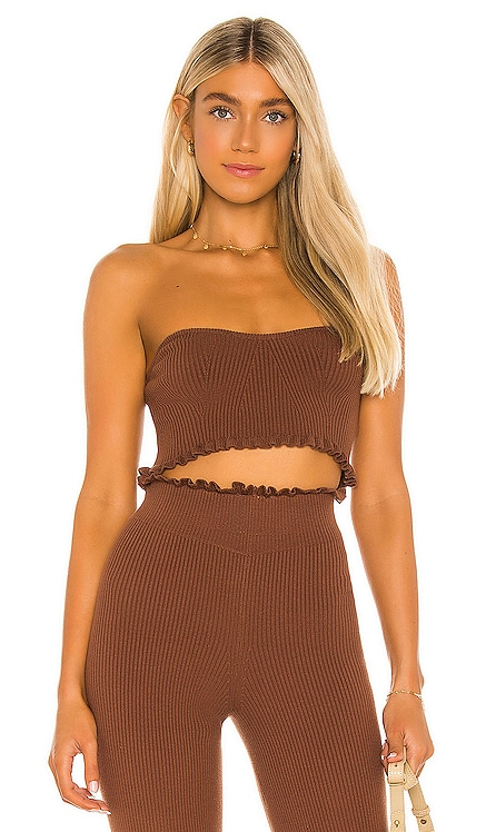 Cropped Sweetheart Ribbed Tube Top MAJORELLE $118 NEW