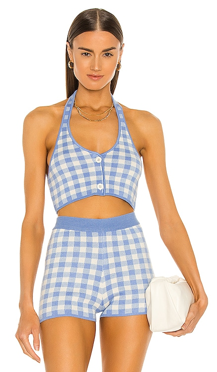 Addy Cropped Halter Top MAJORELLE $148