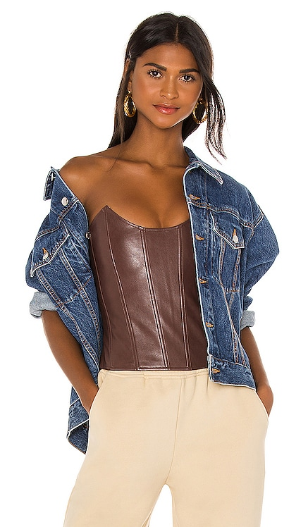 Leia Faux Leather Corset Miaou $265 NOUVEAU