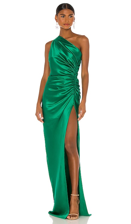 Asymmetrical Gathered Gown Michelle Mason $966 NEW