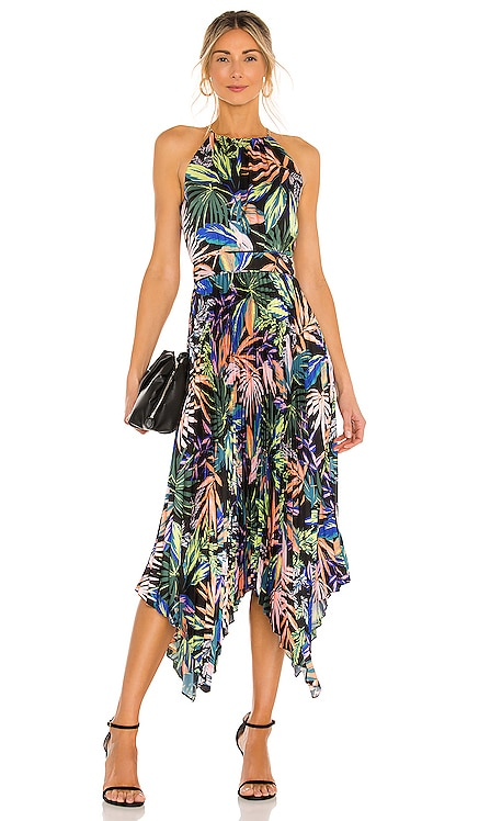 Joelle Tropical Palm Pleat Dress MILLY $425 NEW