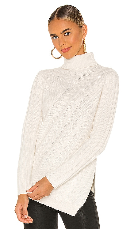 Asymmetrical Cable Turtleneck MILLY $325