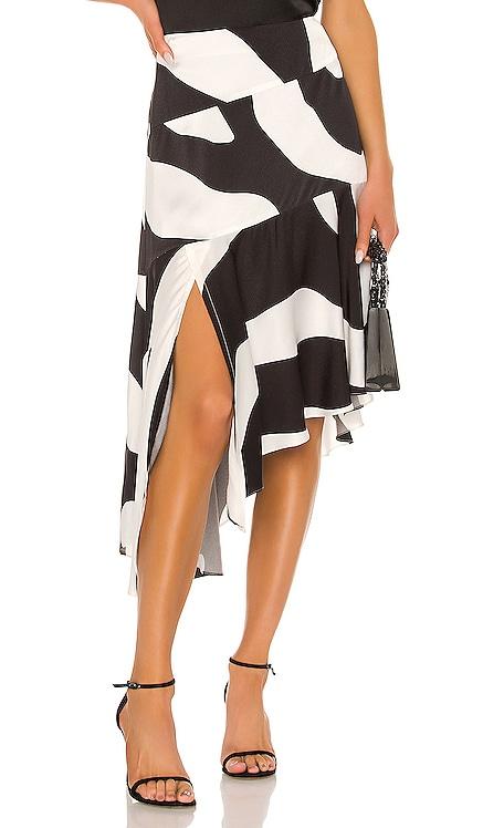 Zebra Print Viscose Asymmetrical Cascade Skirt MILLY $201