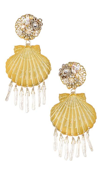 Small Shell Pearl Earrings Mercedes Salazar $81