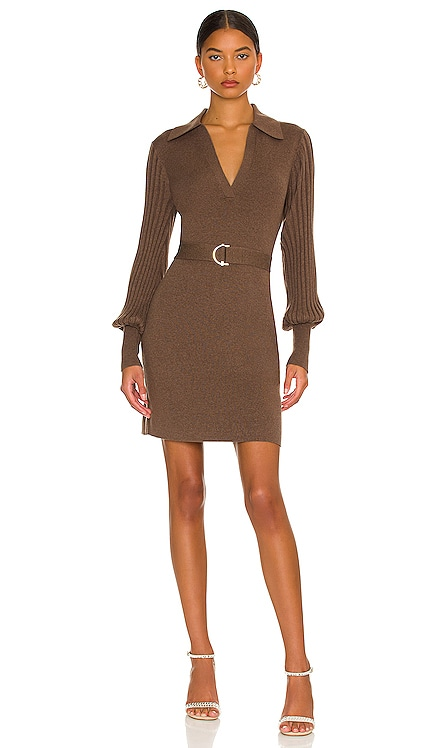 Adara Knit V-Neck Long Sleeve Mini Dress with Collar NICHOLAS $385 NEW