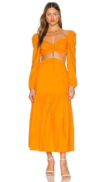 Dora Poplin Cutout Long Sleeve Midi Dress NICHOLAS $395 NEW