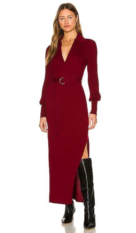 Adeline Knit V-Neck Long Sleeve Midi Dress with Collar & Belt NICHOLAS $395 NEW