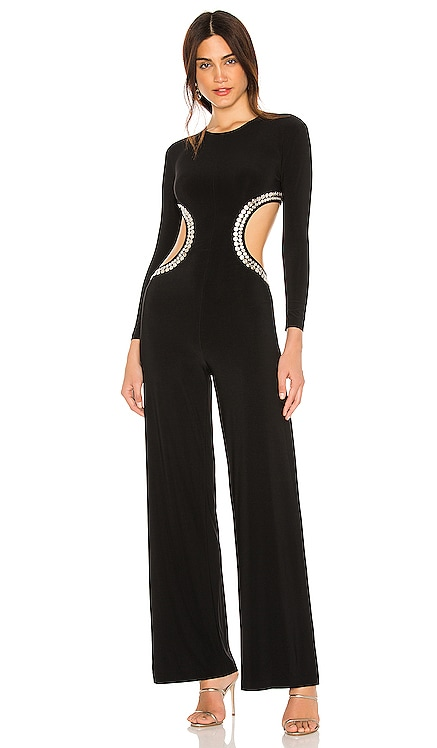 Stud Long Sleeve Cut Out Jumpsuit Norma Kamali $375 BEST SELLER