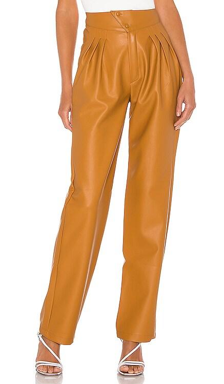 Britt Pleated Vegan Leather Trouser NONchalant $350
