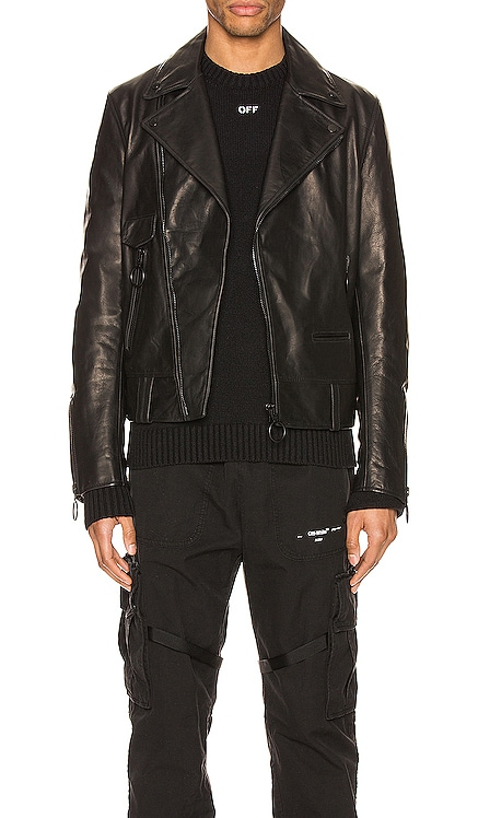Leather Biker Jacket OFF-WHITE $2,600 NEW ARRIVAL