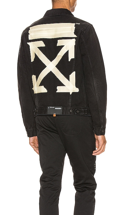 Tape Arrows Slim Jeans Jacket OFF-WHITE $760 NEW ARRIVAL