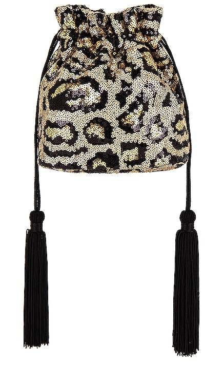 Kezzie Leopard Sequin Drawstring Pouch Bag olga berg $90