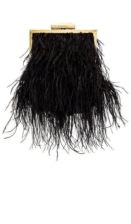 Ozzy Feather Embellished Framed Bag olga berg $110 NEW