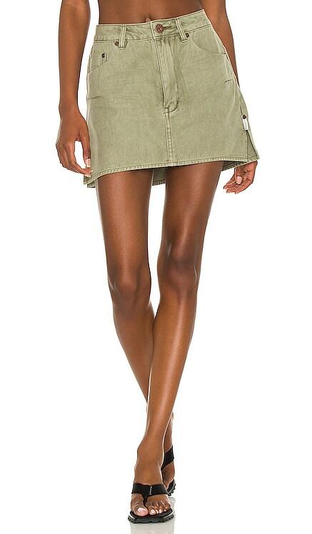Vanguard Mid Rise Relaxed Denim Mini Skirt One Teaspoon $118