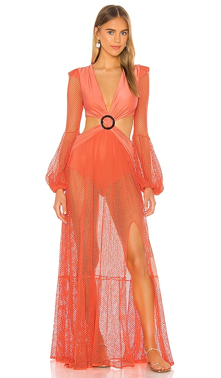 Long Sleeve Mesh Beach Dress PatBO $725