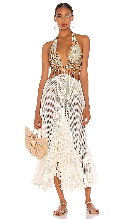 Palmeira Netted Beach Dress PatBO $695 NEW