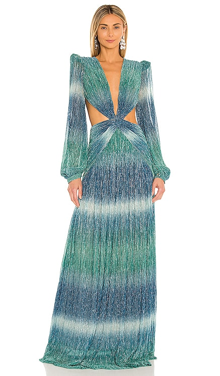 Ombre Lurex Cut Out Maxi Dress PatBO $1,100 NEW