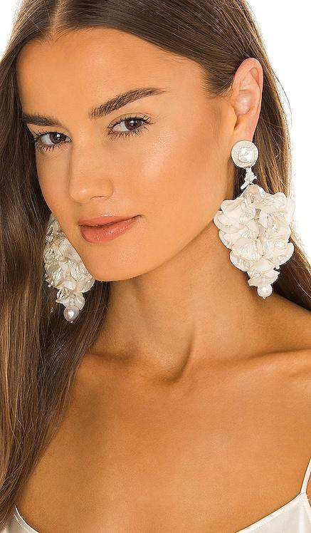 X Ranjana Khan Pearl & Silk Flower Earrings PatBO $465
