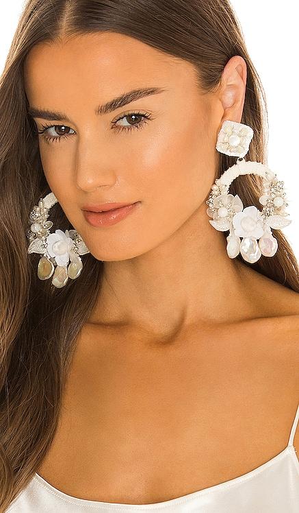 X Ranjana Khan Bridal Posie Flat Pearl Earrings PatBO $395