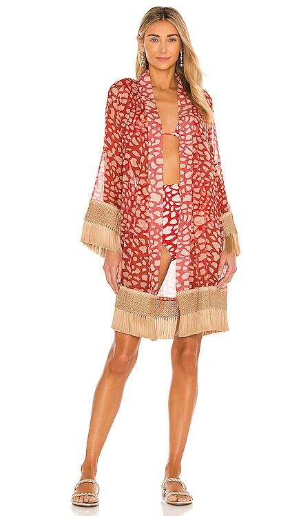 Spotted Fringe Trim Robe PatBO $425 NUEVO