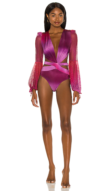 Ombre Netted Sleeve Swimsuit PatBO $450 NEW