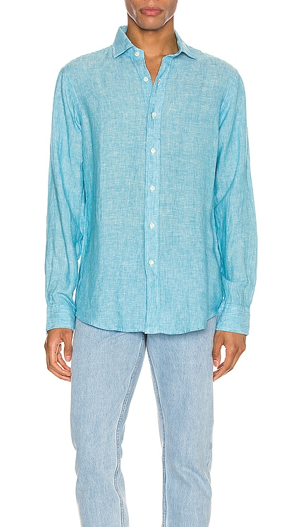 Linen Chambray Long Sleeve Button Up Shirt Polo Ralph Lauren $104
