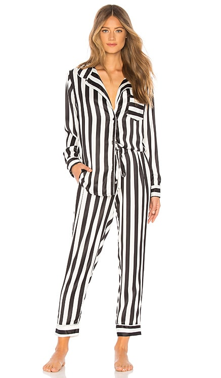 Silky Striped PJ Set Plush $136 BEST SELLER