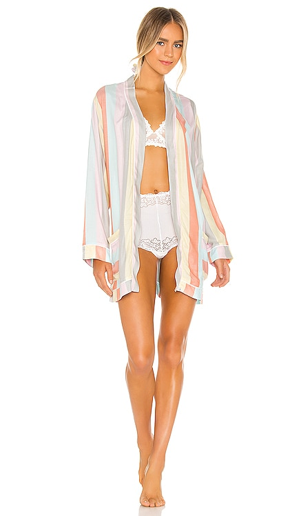 Ultra Soft Rainbow Stripe Robe & Scrunchie Set Plush $143 BEST SELLER