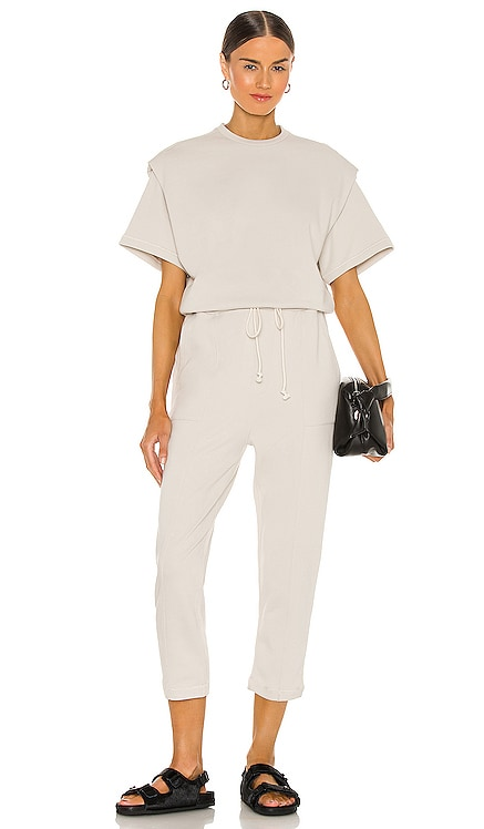 Clarisse French Terry Shoulder Pleat Jumpsuit PISTOLA $148