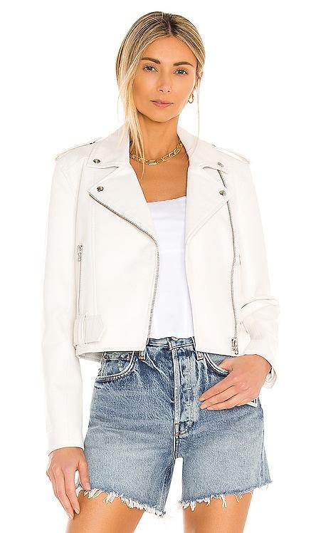 Tracy Cropped Vegan Moto Jacket PISTOLA $148 NEW