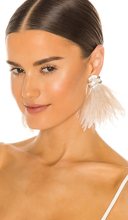 Baroque Pearl and Ostrich Feather Burst Earrings Ranjana Khan $295