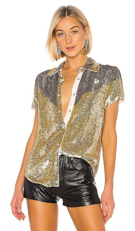 x REVOLVE Linda Top In Gold & Silver retrofete $312